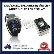 Mens Womens RPM Watch Turbo Blue Flash LED Dashboard Style Date Calendar Dial