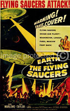 Earth Vs. The Flying Saucers Vintage Movie Poster 18x24
