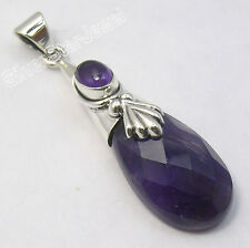 "Stone Cap Long Pendant 1.8"" Handwork 925 Sterling Silver Exclusive Amethyst 2"