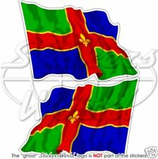 """LINCOLNSHIRE County Lincoln Flying Flag 120mm (4,7"""") Vinyl Stickers, Decals x2"""