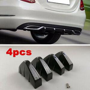 4pcs Rear Lower Bumper Diffuser Fin Spoiler Lip Wing Splitter Car Accessories