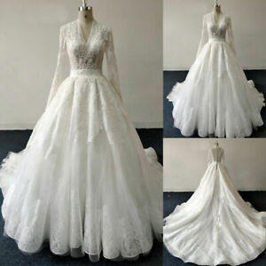 Muslim Long Sleeve V-neck Wedding Dresses Beading Long Train Lace Applique Gown