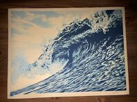 """Shepard Fairey Obey Giant """"Wave Of Distress"""" Blue Art Print Poster Signed XX/400"""
