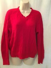 Studio Works Sz L Sweater Red Cable Knit 160941