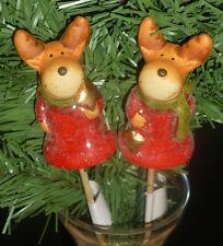 12er Weihnacht Blumenstecker Elch 2fach sortiert 23cm Figur #804424