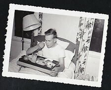 Old Vintage Antique Photograph Man Eating Breakfast in Bed off Tray