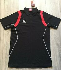 mens black red WARRIOR sports gym track fitness training  polo shirt Size Medium