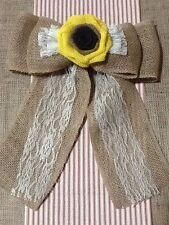 Burlap SunFlower Lace Pew Bow Vintage Chic Venue Wedding Rustic Primitive
