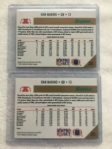 1991 Pro Set Football Dan Marino (#25) ERROR / MISPRINT & CORRECT Cards - RARE !