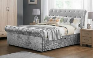 New 2 Drawer Sleigh Silver Crushed Velvet Fabric Storage Bed Frame