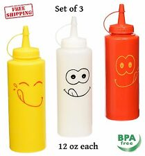 Squeeze Bottle Set Ketchup Condiment Mustard Plastic Dispenser Sauce Mayo 12 oz