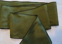 "4"" WIDE GERMAN MOIRE RIBBON - RAYON - AMBER GREEN - MOSS"