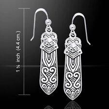 Celtic Maori Sterling Silver Earrings by Peter Unique Stone Fine Jewelry