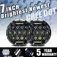 "300W DOT 7"" inch Round LED Headlights Halo Pair Hi-Lo Projector For Hummer H1 H2"