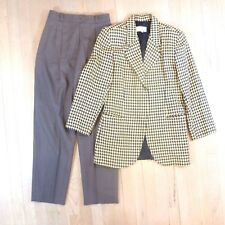 Vtg Womens Suit Pants Size 6 Petite AG Bruce Houndstooth Hidden Buttons Wool USA