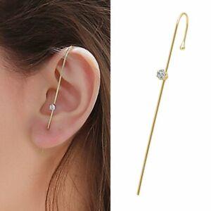 Bohemian Wedding Ear Wrap Crawler Hook Crystal Earrings Pearl Wedding Jewelry