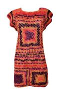Vtg Boho Handmade Purple Maize Crochet Knit Hippie Go-Go Tunic Dress Size S EUC