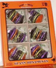 SHINY BRITE Halloween Ornaments Set of 6 Glitter & Tinsel Lantern Shapes