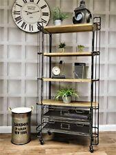 Industrial retro urban metal 4 shelve 2 drawer storage unit bookcase display