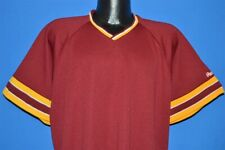 vintage 80s Rawlings Maroon Yelow Striped V Neck Jersey Poly Baseball t-shirt Xl