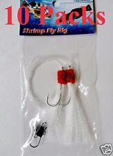 10 Packs Size 5/0 Shrimp Fly Rigs White Rockfish Bait Lures
