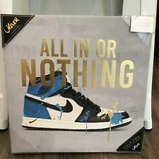 New Oliver Gal ALL IN OR NOTHING Nike Air Jordan 1 Gold Foil Canvas Art 14 X 14