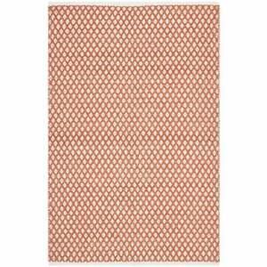 Rug 4 x 6ft Boston Orange Rectangle Diamond Cotton NEW (B1)