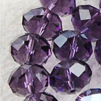 Wholesale DIY Jewelry Faceted 70pcs 6*8mm Purple Rondelle glass Crystal Beads