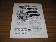 1953 Print Ad Onan Marine Diesel Electric Plants Minneapolis,MN
