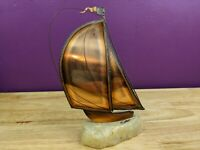 "Vintage Copper & Brass Sailboat Sculpture On Quartz Stone Base Signed 9.5"" Tall"