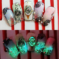 Glitter Acrylic Luminous Nail Art Decor Fluorescent Stone Powder Sticker
