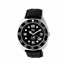 Reign Quentin Automatic Pro-Diver Black Leather Men's Watch with Date RN4905