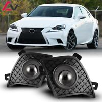 14-16 For Lexus IS Clear Lens Pair Bumper OE Fog Light Lamp+Wiring+Switch Kit