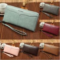 Womens Lady PU Leather Clutch Wallet Long Card Holder Purse Handbag Fashion