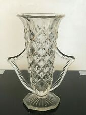 CLEAR GLASS FLOWER VASE WITH WINGED TWO HANDLES 21CM HIGH