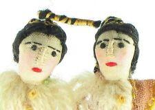 Vintage Silk Wool Hand Sewn Miniature Man & Woman Doll Christmas Ornaments