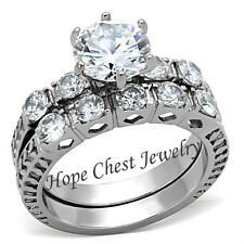 HCJ Women's Antique Style Stainless Steel CZ Engagement Ring Wedding Ring Set 10