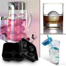 Whiskey Cocktail Ice Cube Ball 4 Large Sphere Ice Ball Kitchen Maker Mold #Black