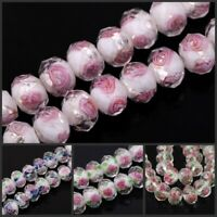 10Pcs Lampwork Faceted Flowers Glass Beads Charm Accessories for DIY Jewelry 2h