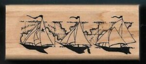SAILBOAT BORDER MAP LAND BILLOW SET SAIL High Sea STAMPIN' UP! wood RUBBER STAMP