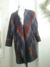M&S MULTI COLOURED WOOL COAT WITH FRINGES SIZE 14