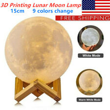 3D Printing Lunar Moon 15cm Lamp USB LED Night Light Touch Sensor Christmas fE