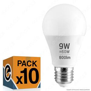 10 LAMPADINE LED attacco E27 9w Goccia Sfera Lampade LUCE Calda Naturale Fredda