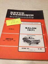 Revue Technique Automobile Chrysler 160 160GT GT 180 , salon 71 N° 306 éd. 71