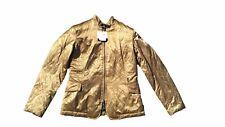 CALVIN KLEIN Womens €295 Gold Fashion Goose Down Duck Fur Zip Coat Jacket sz L