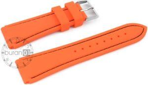 Pulsera de Reloj 20mm Dornschließe-silikon-orange con Negro Cosido