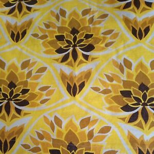 """VINTAGE 70s yellow brown flower power pair Curtains W88"""" x D46"""""""