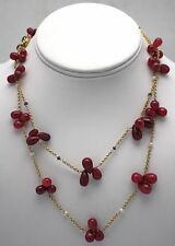 "RUBY BEAD TEAR DROP NECKLACES W/ SEED PEARLS & SAPPHIRES 34"" LONG DOUBLED 14K YG"