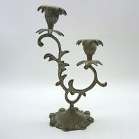 Antiker Jugendstil Messing  Kerzenleuchter 2 flammig ca. 19 x 10 cm mit Patina