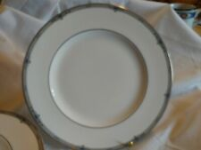"Wedgwood Amherst Platinum Trim Gray Band Blue Flower Dinner Plates 10 3/4"" SEVEN"
